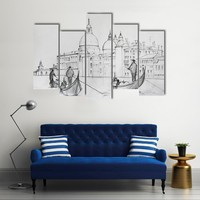Painting Of Venice Italy Multi Panel Canvas Wall Art