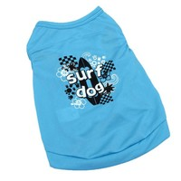 Blue Surf Dog Summer Beach T-shirt Shirt Coat Vest Clothing for Dogs