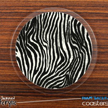 The Real Zebra Animal Print Skinned Foam-Backed Coaster Set