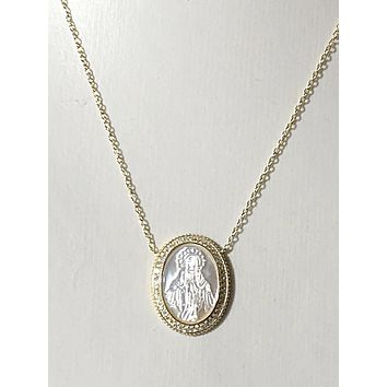 SALE  18K Yellow Gold Handcarved Mother of Pearl Patron Saint Pendant Necklace