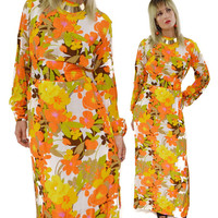 Vintage 70s Floral Multicolor Hippie Boho Maxi Dress
