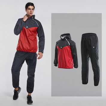 2 Pieces Set Sport Men Running Set Hot Fast Sweat Hooded Sports Suits Basketball Clothes Gym Fitness Jogging Training Sportswear