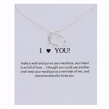 Silver Love Card Alloy Clavicle Pendant Necklace   171212