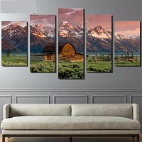 Barn Rocky Mountains Landscape Canvas Painting
