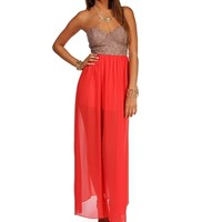 Taupe/Coral Strapless Lace Maxi Dress