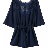 Dark Blue Bare Back Drawstring Romper