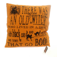 Halloween WITCH POEM PILLOW Fabric Old Witch Shoe Lk2140