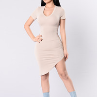Don't Waste My Time Dress - Nude