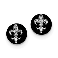 Sterling Silver CZ Fleur de Lis on Onyx Circle Stud Earrings QE9089