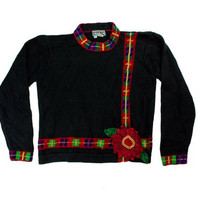 Beaded Flower Ugly Christmas Sweater | ugly sweater