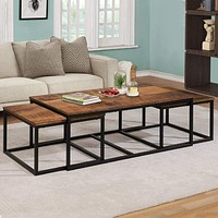 Nested Design Metal Coffee Table with Wooden Top, Set of 3,Brown By The Urban Port