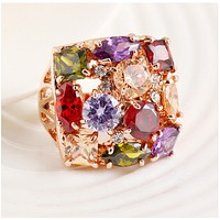 Fashion Engagement Ring Seven Color Zircon Austrian Crystal Ring Women's Jewelry