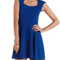 Surf The Web Cap Sleeve Skater Dress by Charlotte Russe