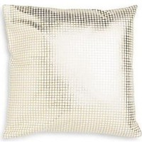 Metallic Gold Check Throw Pillow