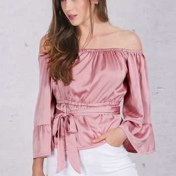 8DESS Off Shoulder Ruffle Bow Soft Satin Flare Sleeve Summer Tops Blouses
