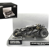 "Elite ""The Dark Knight"" Trilogy Batmobile With Authentic Movie Batman Cape Material 1-18 Diecast Model by Hotwheels"