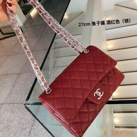 157 Fashion Classic Flap Bag Chain Crossbody Pouch Quilted Baguette Bag 27-15cm