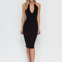 Triangulated Caged Plunge Bodycon Dress