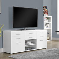 """White Hollow-Core 60""""L TV Console with 8 Drawers"""