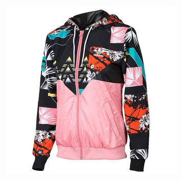 Fashion Print Hooded Multicolor Zipper Cardigan Jacket Windbreaker