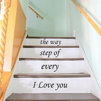 Stair Decals Quotes Stairway Decals Quote Vinyl Stickers lettering Family Home Decor Staircase Decal I love You Every Step of the Way ZX228