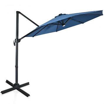10 Ft Patio Offset Cantilever Umbrella with Solar Lights-Blue