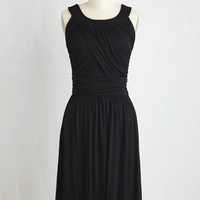 Long Sleeveless A-line So Happy to Gather Dress in Raven