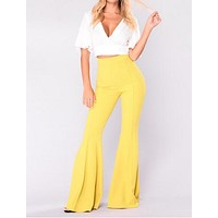HIGH RUFFLED FITTED FLARE PANTS