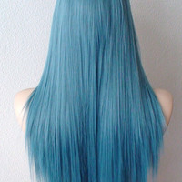 Dark Teal Blue wig. Long straight layered hair long side bangs Heat resistant synthetic wig for daily use or cosplay.