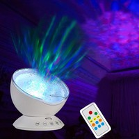 Fymence 1X Remote Control Ocean Wave Projector Rotating Night Light Music Player