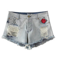 Light Blue Embroidery Detail Distressed Rips Denim Shorts