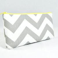 Gray chevron with bright yellow zipper accent makeup brush holder, pencil case, clutch, cosmetic bag