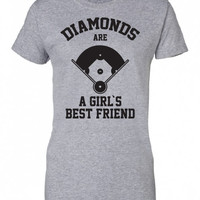 Diamonds Are A Girls Best Friend baseball softball sports funny Printed graphic T-Shirt Tee Shirt Mens Ladies Women Youth Kids ML-310b