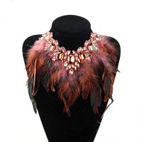 ZMZY Big Chunky Statement Crystal Pendant Crystal Necklace Luxury Style Feather Collar Choker Jewelry For Women