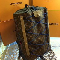 KUYOU L084 Louis Vuitton LV 2018 Outdoor Backpack 35-54.5-19CM Brown Blue
