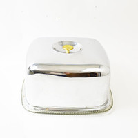 Square Cake Plate and Cover, Retro Chrome Cake Plate, Cake Storage, Glass Cake Plate and Chrome Cake Cover, Dessert Platter,