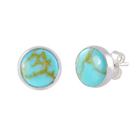 Sterling Silver Turquoise Gemstone Earrings 9mm Round Studs