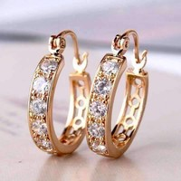 18K Yellow Gold Overlay Channel Set CZ and Filigree Hoop Earrings For Woman