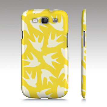 Galaxy S3 case, Galaxy S4 case, hipster, art, yellow, colorful bird illustration, birds pattern, art for your phone