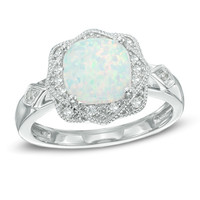 8.0mm Cushion-Cut Lab-Created Opal and White Sapphire Frame Ring in Sterling Silver