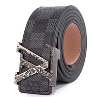 LV tide brand men and women pattern letter head smooth buckle belt Black check