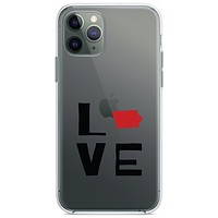 DistinctInk® Clear Shockproof Hybrid Case for Apple iPhone / Samsung Galaxy / Google Pixel - Iowa - Love Black & Red