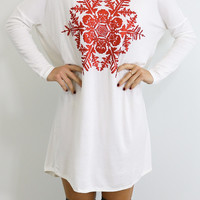 Snowed In Ivory & Red Glitter Snowflake Holiday Dress