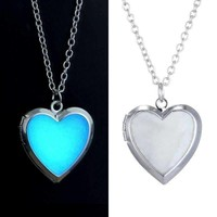 Beaming Heart Glow in The Dark Silver Locket Necklace For Woman