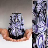 Black candle - Purple candle - Carved candle