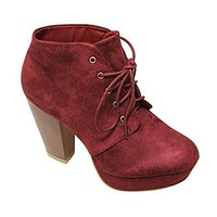 Women's Goldie-21 Almond Toe Platform Chunky Heel Lace Up Booties