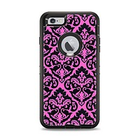 The Pink & Black Delicate Pattern Apple iPhone 6 Plus Otterbox Defender Case Skin Set