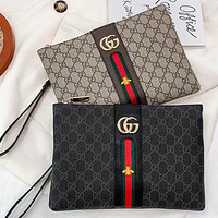 GUCCI GG stitching color letter printing ladies envelope bag clutch purse