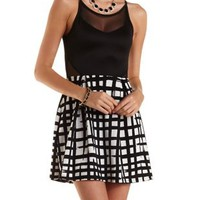 Black Combo Mesh Cut-Out Grid Print Skater Dress by Charlotte Russe