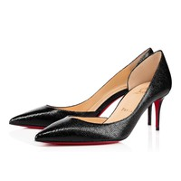 Cl Christian Louboutin Iriza Black Leather 70mm Stiletto Heel 13w - Best Online Sale